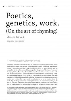 Poetics, genetics, work. (On the art of rhyming)