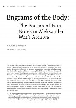 Engrams of the Body: The Poetics of Pain Notes in Aleksander Wat's Archive