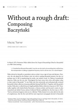 Without a rough draft: Composing Baczyński