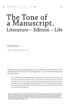 The Tone of a Manuscript. Literature – Edition – Life