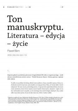 Ton manuskryptu. Literatura – edycja – życie