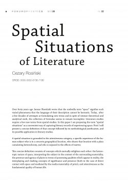 Spatial situations of literature