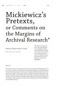 Mickiewicz's pretexts, or comments on the margins of archival research
