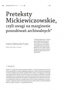 Preteksty Mickiewiczowskie, czyli uwagi na marginesie poszukiwań archiwalnych
