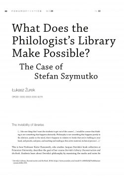 What does the philologist's library make possible? The case of Stefan Szymutko