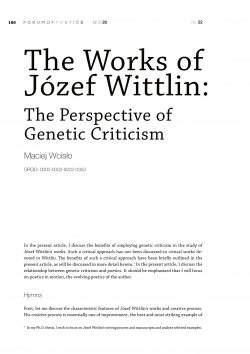 The works of Józef Wittlin: The perspective of genetic criticism