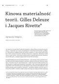 Kinowa materialność teorii. Deleuze i Jacques Rivette