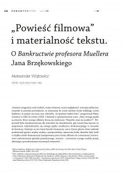 """""""Powieść filmowa"""" i materialność tekstu. O Bankructwie profesora Muellera Jana Brzękowskiego"""