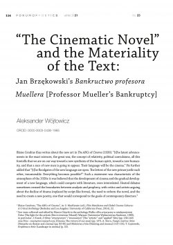 """""""The Cinematic Novel"""" and the Materiality of the Text: Jan Brzękowski's Bankructwo profesora Muellera [Professor Mueller's Bankruptcy]"""