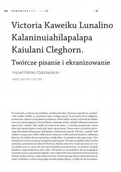 Victoria Kaweiku Lunalino Kalaninuiahilapalapa Kaiulani Cleghorn. Twórcze pisanie i ekranizowanie