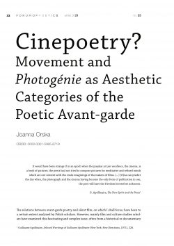 Cinepoetry? Movement and Photogénie as Aesthetic Categories of the Poetic Avant-garde
