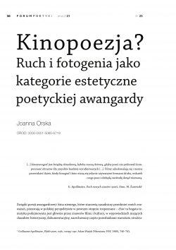 Kinopoezja? Ruch i fotogenia jako kategorie estetyczne poetyckiej awangardy