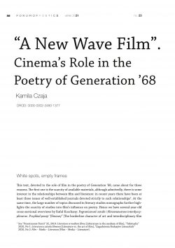 """""""A New Wave Film"""". Cinema's Role in the Poetry of Generation '68"""