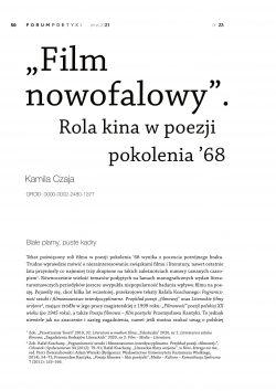 """""""Film nowofalowy"""". Rola kina w poezji pokolenia '68"""