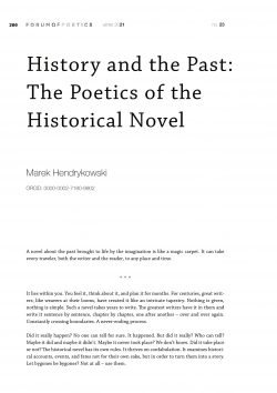 History and the Past: The Poetics of the Historical Novel