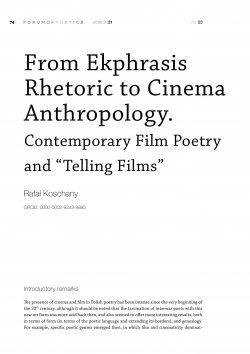 "From Ekphrasis Rhetoric to Cinema Anthropology. Contemporary Film Poetry and ""Telling Films"""