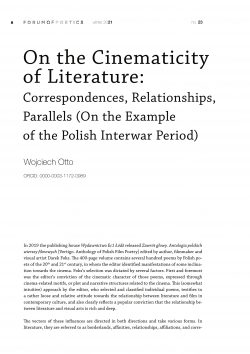 On the Cinematicity of Literature: Correspondences, Relationships, Parallels (On the Example of the Polish Interwar Period)